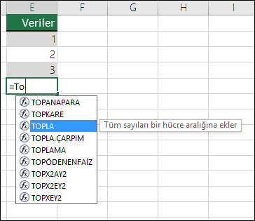Excel Formülü Otomatik Tamamlama