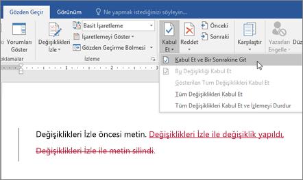 Office 365 Word Değişiklikleri İzleme
