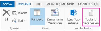 Outlook 2013'teki Toplantı Seçenekleri düğmesi