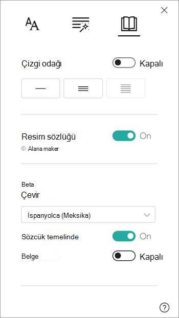 Çeviri seçenekleri, resim sözlüğü bölümünün altında bulunur.