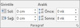Word'de Düzen sekmesindeki Paragraf grubunda aralığı ayarlayın.