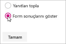 Form sonuçlarını göster için Microsoft Forms web bölümü seçimi.