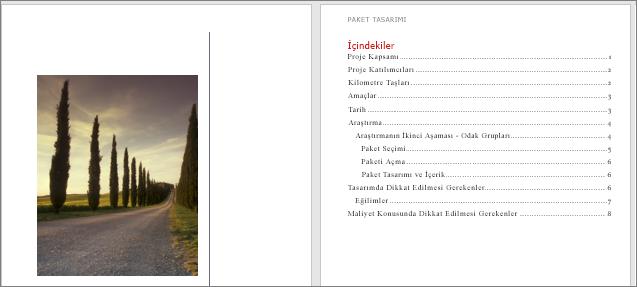 Kapak sayfası ve İçindekiler Tablosu ekleme