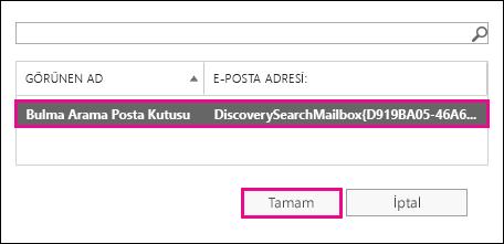 Arama sonuçlarını varsayılan Bulma Arama Posta Kutusu'na kopyalayın
