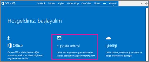 E-posta adres kutusunu gösteren Hoş geldiniz sayfası