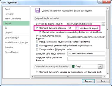 Excel Seçenekleri iletişim kutusunda Kaydetme sekmesinde Otomatik Kurtarma seçeneği