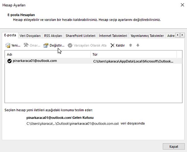 E-posta hesabı ayarlarını değiştirme