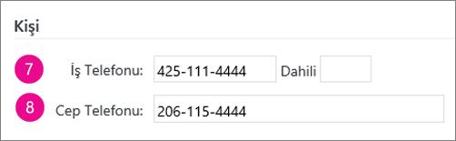 Yammer'da eşitlenen telefon numarası alanlarını gösteren ekran görüntüsü