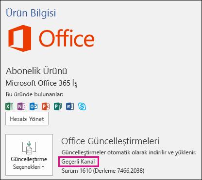 Güncel Kanal Office 365 İş aboneliğiniz için ürün hesap bilgileri