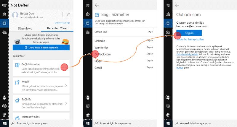 Windows 10 ' da Cortana 'Nın açık olduğu ve bağlantılı hizmetler menüsünün açık olduğu ekran görüntüsü.