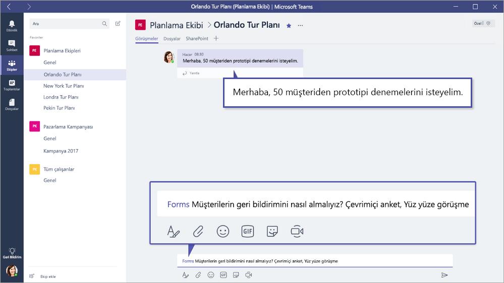 Microsoft ekiplerin içinde Microsoft formları QuickPoll