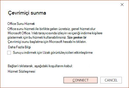PowerPoint'te Dosya > Paylaş > Çevrimiçi Sun seçeneğini gösterir