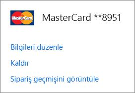Kredi kartı için Bilgileri düzenle, Kaldır ve Sipariş geçmişini görüntüle bağlantılarının gösterildiği Ödeme seçenekleri sayfası.