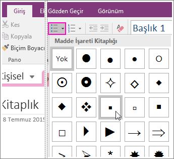 OneNote 2016'da bir sayfaya madde işaretleri ekleme işleminin ekran görüntüsü.