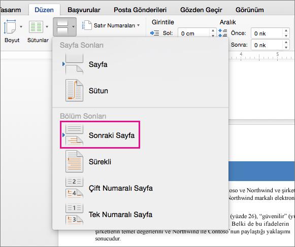 Kesme işaretinden sonraki metnin sonraki sayfaya geçmesine neden olan bir bölüm sonu eklemek için Sonraki Sayfa'ya tıklayın.