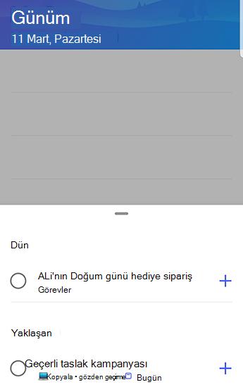 Önerileri dün ve yaklaşan önerilerle birlikte Android 'de Yapılacaklar ekran görüntüsü.