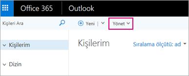 Web üzerinde Outlook'ta Kişiler sayfasının görüntüsü