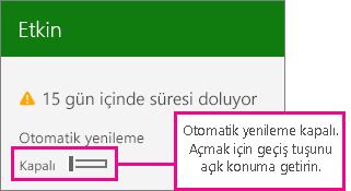 Otomatik yenilemeyi açma/kapama seçeneğinin gösterildiği abonelik ekran görüntüsü