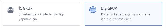 İç veya Dış grup oluşturmayı seçebileceğinizi gösteren ekran görüntüsü