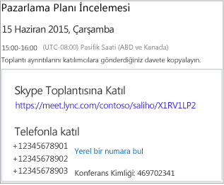 Sample screen showing meeting details