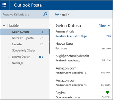 Ana Outlook.com veya Hotmail.com ekranı