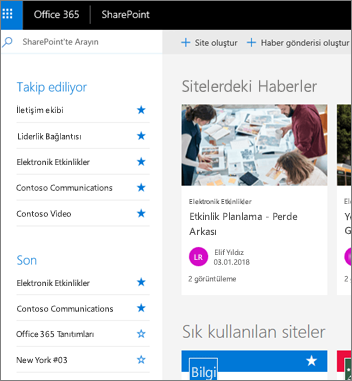 SharePoint Online giriş sayfası