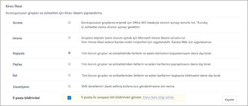 Kaizala 'da kiracı ilkeleri sayfasının ekran görüntüsü.