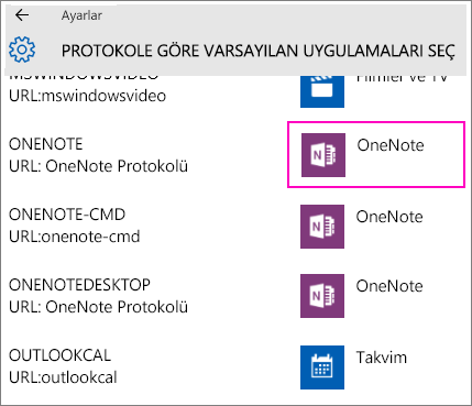 Screenshot of the OneNote protocols in Windows 10 Settings.