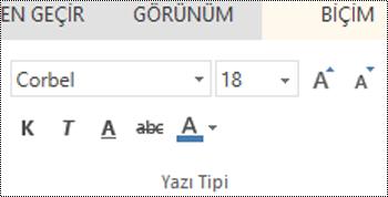 PowerPoint Online'da yazı tipi grubu