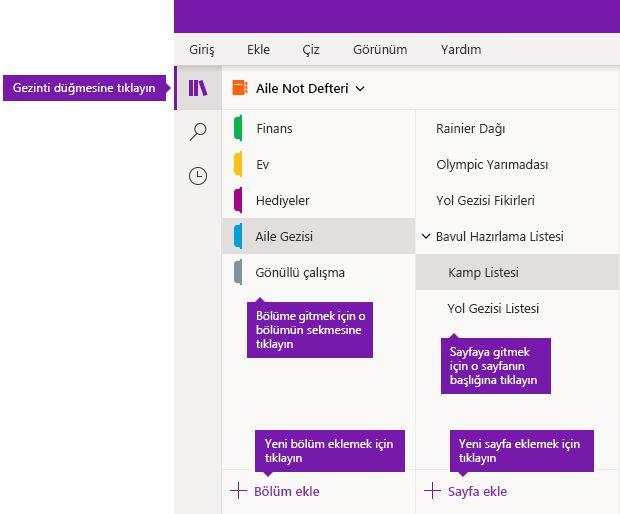 Windows 10 için OneNote'ta bölümler ve sayfalar
