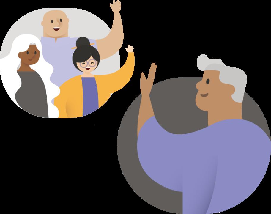Bir grup kişiye el sallayan kişi.
