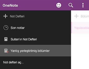 Android için OneNote'ta yanlış yerleştirilmiş bölümleri
