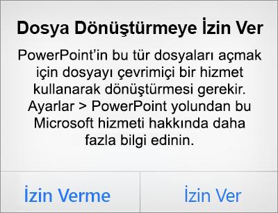 iPhone için PowerPoint uygulamasında ODF gizlilik istemini gösterir
