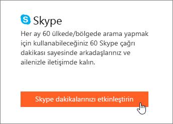 Skype dakikalarının nereden etkinleştirileceğinin ekran görüntüsü.