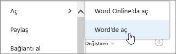 Uygulama seçimini seçili Word'le açma.