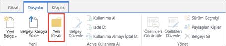 Vurgulanmış olarak yeni bir klasör ile SharePoint dosyaları Şerit görüntüsü.