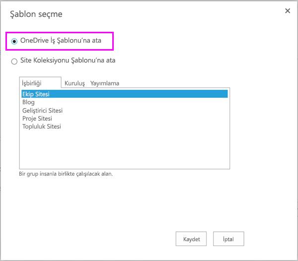 OneDrive iş şablonu seçeneği için atama
