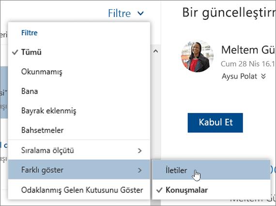 Farklı göster'in seçili durumda olduğu Filtre menüsünün ekran görüntüsü