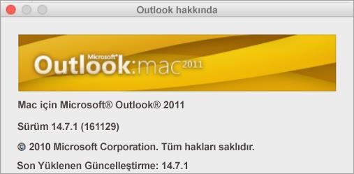 Outlook Hakkında kutusunda Mac için Outlook 2011 sürümü gösterilir.