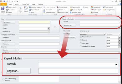 Kaynak Bilgileri bölümü kaydın gösteren ekran görüntüsü