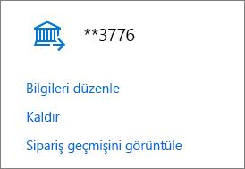 Banka hesabı için Bilgileri düzenle, Kaldır ve Sipariş geçmişini görüntüle bağlantılarının gösterildiği Ödeme seçenekleri sayfası.