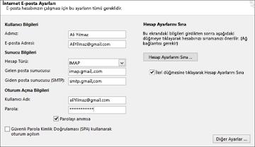 Gmail sunucu ayarlarınızı girin