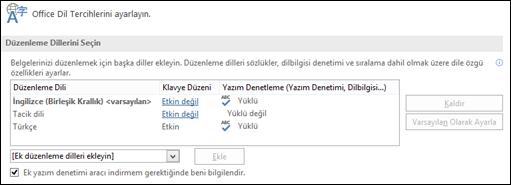 Office'in düzenleme ve yazım denetleme araçlarında kullandığı dili ekleyebileceğiniz, seçebileceğiniz veya kaldırabileceğiniz iletişim kutusu.