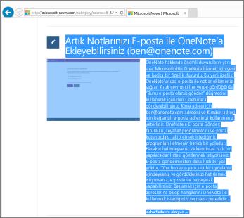 web sayfasının kopyalanmak üzere seçilen parçasını gösteren ekran görüntüsü.