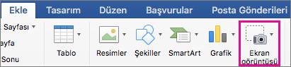 Office Mac 2016 Ekran Görüntüsü özelliği