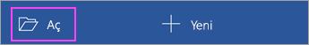 Uygulama giriş ekranından Aç'a dokunun.