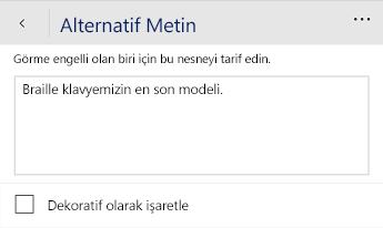 Word Mobile alternatif metin iletişim kutusu