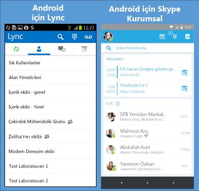 Lync ve Skype Kurumsal'ın yan yana ekran görüntüleri