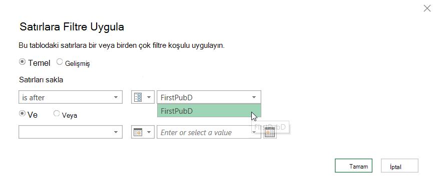 Seçili bir parametreyi görüntüleyen satırları Filtrele iletişim kutusu