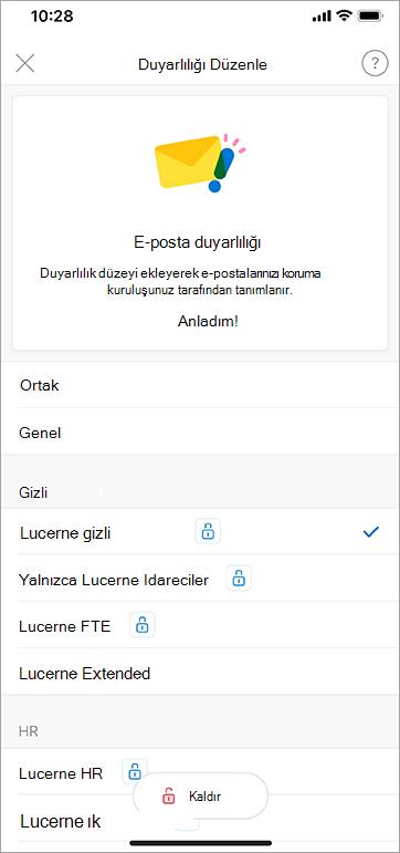 İOS için Outlook 'ta duyarlılık etiketlerinin ekran görüntüsü